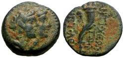 Ancient Coins - Phoenicia.  Akko-Ptolemais Æ15 / Dioscuri and Cornucopia
