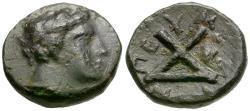 Ancient Coins - Thessaly. Peumata Æ13 / Achilles