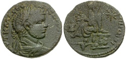 Ancient Coins - Severus Alexander. Mesopotamia. Edessa Æ25 / Tyche and River God