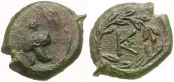 Ancient Coins - Sicily, Tauromenion. Campanian Mercenaries Æ12