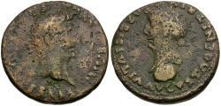 Ancient Coins - Divus Augustus (after AD 14) with Julia Augusta (Livia). Spain. Hispalis Æ Dupondius / Dual Portraits