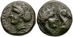 Ancient Coins - Thessaly. Gyrton Æ16 / Youth with Horse