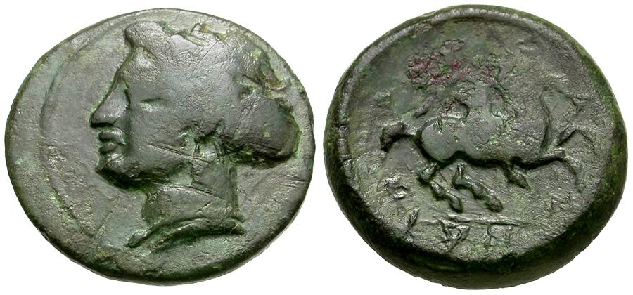 Ancient Coins - Thessaly. Phalanna Æ16 / Nymph
