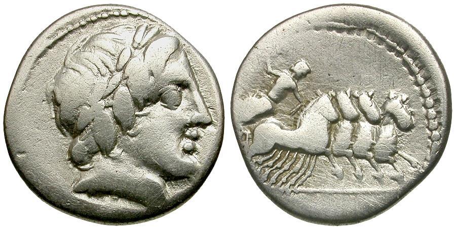 Ancient Coins - 86 BC - Roman Republic. Anonymous. C. Gargonius, M. Vergilius, Ogulnius AR Denarius / Jupiter in Quadriga