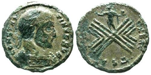 Ancient Coins - aVF/aVF Constantine I the Great AE Follis / Camp Plan