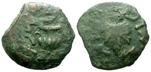 Ancient Coins - aVF/aVF Judaea Jewish Revolt AE Lepton / Amphora / Vine leaf