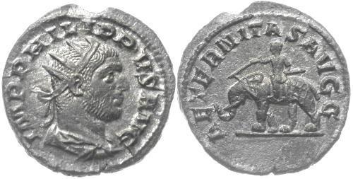 Ancient Coins - VF/VF Philip I AR Antoninianus / Elephant