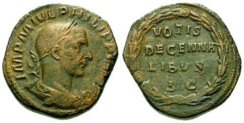 Ancient Coins - VF/VF Philip I AE Sestertius / Votive wreath