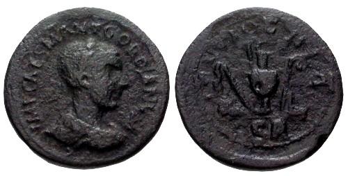 Ancient Coins - gF+/gF Gordian III Pisidia Antioch AE33 / Sacrificial implements