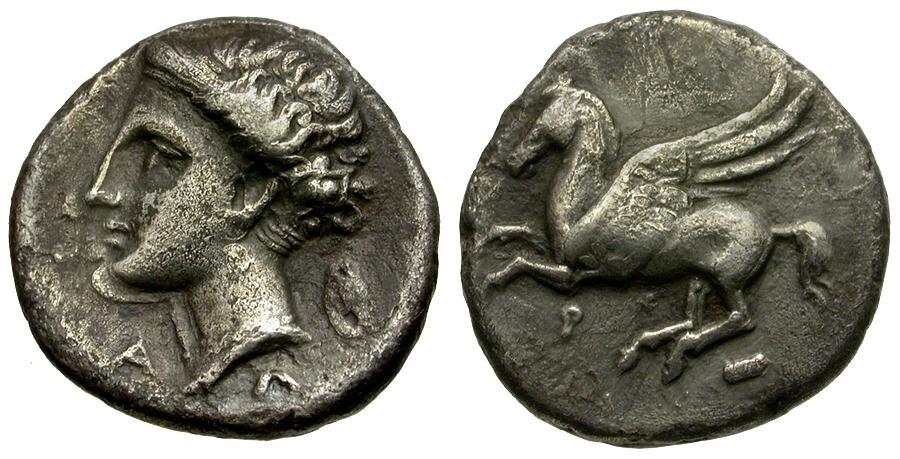 Ancient Coins - Corinthia. Corinth AR Drachm / AΛ Series