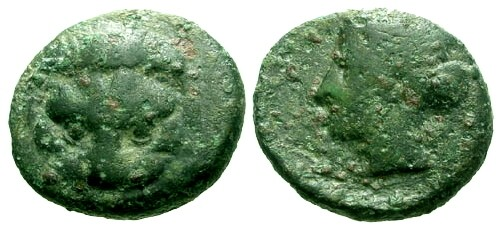 Ancient Coins - gF+/F Bruttium Rhegion AE15 / Lion's Scalp