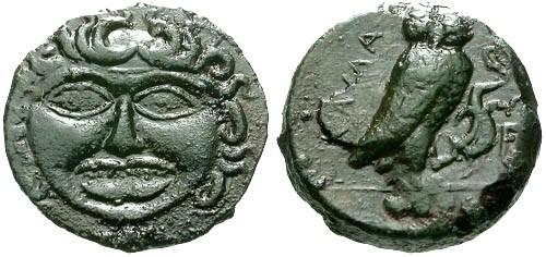 Ancient Coins - VF/VF Sicily Kamarina AE Trias / Gorgon and Owl