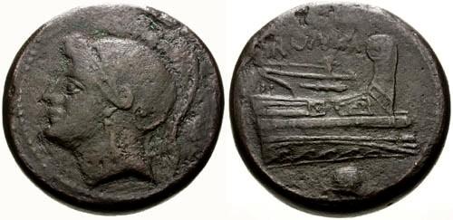 Ancient Coins - gF+/VF 217-215 BC Roman Republic AE Uncia