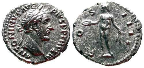 Ancient Coins - EF Antoninus Pius AR Denarius / Genius Holding Patera