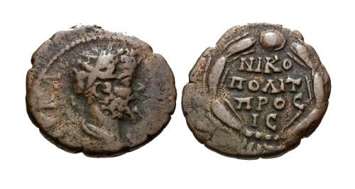 Ancient Coins - aVF/aVF Septimius Severus AE16 Nicopolis / Legend in Wreath