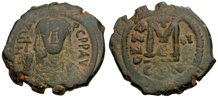Ancient Coins - Byzantine Empire.  Maurice Tiberius Æ Follis