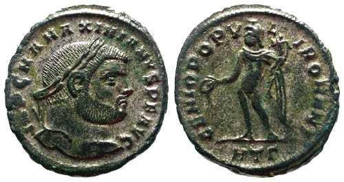 Ancient Coins - VF Maximianus AR Follis / Genius / Rare Unlisted Mule