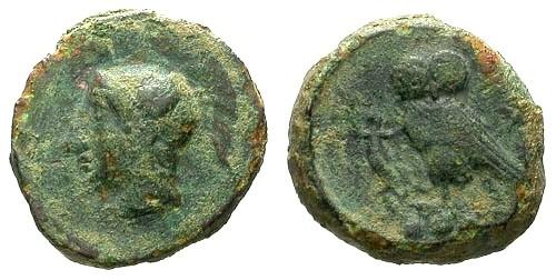 Ancient Coins - gF/aVF Sicily Kamarina AE Trias / Athena / Owl