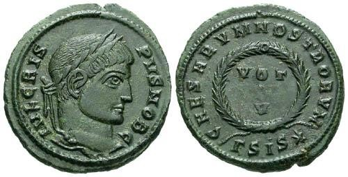 Ancient Coins - VF/aVF Crispus as Caesar AE Follis / Votive