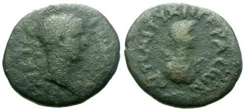 Ancient Coins - F/F Hadrian Decapolis Gerasa AE20 / Artemis-Tyche