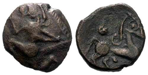 Ancient Coins - VF/VF Bellovaci Tribe Bronze / Scarce / Running Cubist & Horse