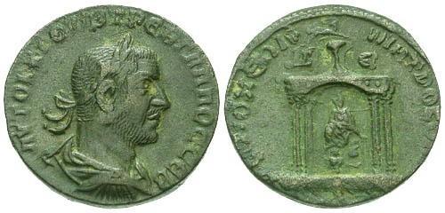 Ancient Coins - VF/VF Trebonianus Gallus Provincial AE30 / Temple