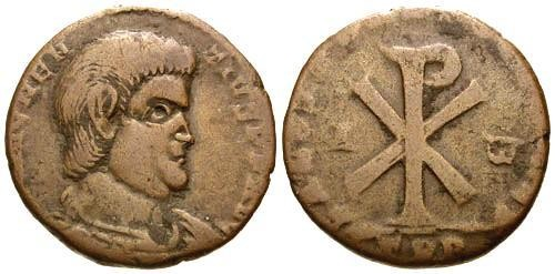 Ancient Coins - F/F Magnentius AE Double Centenionalis / Chi-Rho