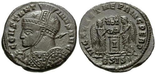 Ancient Coins - VF/VF Constantine I the Great AE Follis / Victories at Altar