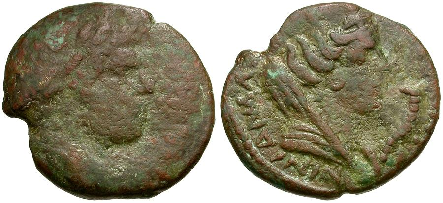 Ancient Coins - Caracalla. Mesopotamia. Carrhae Æ18 / Bust of Tyche