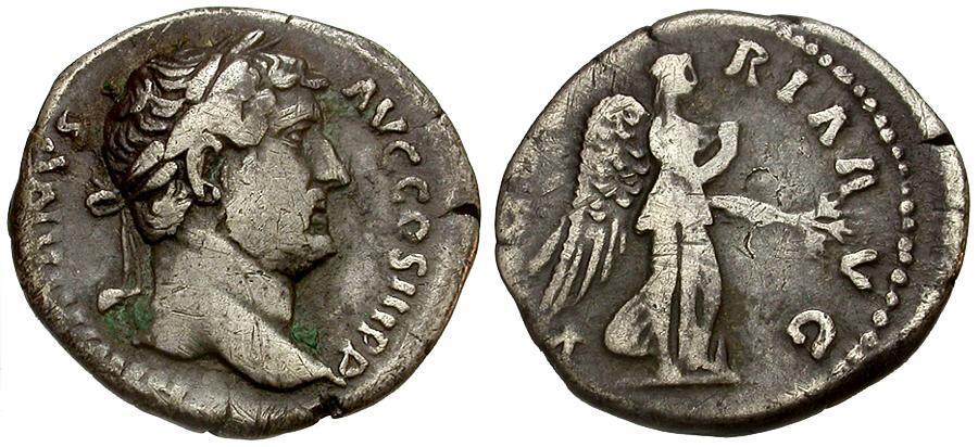 Ancient Coins - Hadrian AR Denarius / Victory-Nemesis