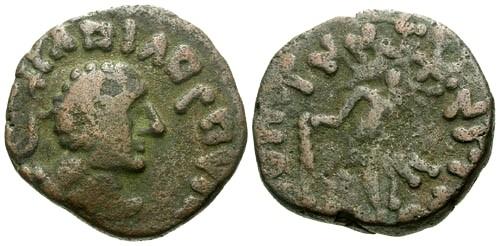 Ancient Coins - aVF/aVF Kujula Kadphises Local imitative AE Tetradrachm of Hermaios / Hercules