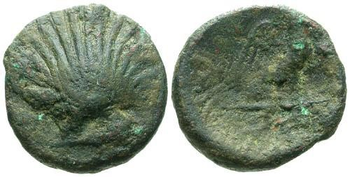 Ancient Coins - VF/F Calbria Graxa AE13 / Cockle Shell