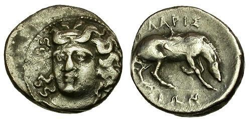 Ancient Coins - aVF/aVF Thessaly Larissa AR Diobol / Nymph / Horse