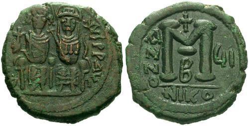 Ancient Coins - F+/F+ Justin II Follis