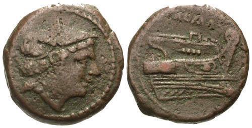 Ancient Coins - aVF/VF Roman Republic AE Sextans