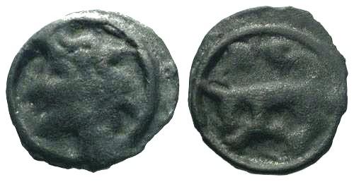 Ancient Coins - aVF/aVF Scarce Half Turones Potin Unit / Bull