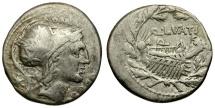 Ancient Coins - 109-108 BC - Roman Republic. Q. Lutatius Cerco AR Denarius / Galley in Wreath