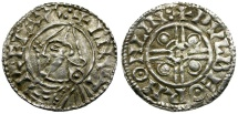 World Coins - Anglo-Saxon. Cnut. Wolfbeorn on Lin AR Penny / Pointed Helmet Type