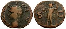 Ancient Coins - gF+/gF+ Agrippa, Struck under Caligula Æ AS / Neptune