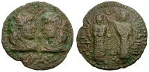 World Coins - Artuqids of Mardin. Najm al-Din Alpi Æ 33mm Dirhem / Byzantine Emperor Crowned by Theotokos