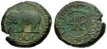 World Coins - Ceylon. British Colonial Under King George III Æ 1/48 Rixdollar / Elephant