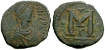 Ancient Coins - Byzantine Empire.  Anastasius Æ Small Module Follis / Constantinople Mint