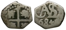 World Coins - Bolivia. Spanish Colonial. Charles II AR 1/2 Reale Cob