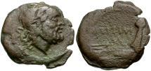 Ancient Coins - 141 BC - Roman Republic. M. Titinius Æ Semis