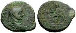 Ancient Coins - Severus Alexander, Macedon Amphipolis Æ23 / Tyche Seated