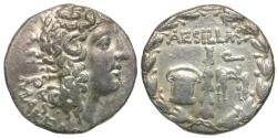 Ancient Coins - Macedonia Under Roman Rule. Aesillas, Quaestor AR Tetradrachm / Club - Money Chest - Quaestor's Chair