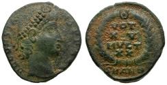 Ancient Coins - Constans as Augustus Æ4 / Votive wreath