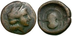 Ancient Coins - Islands off Attica. Salamis Æ17 / Boeotian Shield