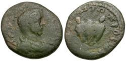 Ancient Coins - Geta (AD 198-211). Moesia Inferior. Nicopolis ad Istrum Æ15 / Bear's head
