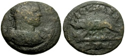 Ancient Coins - Caracalla, Alexandria Troas Æ23 / Wolf and Twins